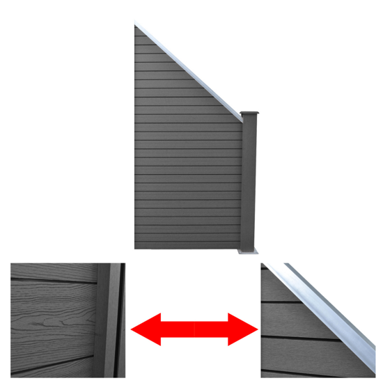 Picture of Slanted WPC Garden Fence Panel Gray