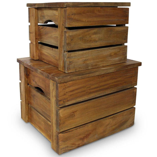 Picture of Storage Crate Set 2 Pieces Solid Reclaimed Wood