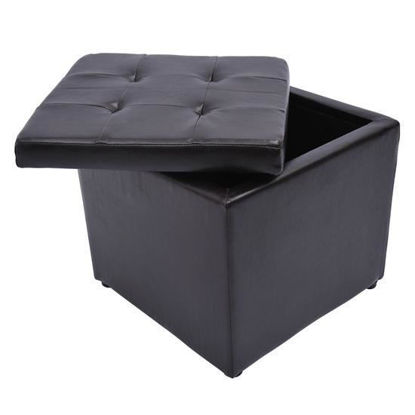 Picture of Storage Ottoman / Foot Stool Faux Leather - Dark Brown