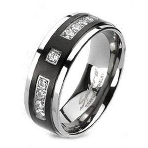 Picture of Titanium Solid Men's Ring Black with Multi CZ