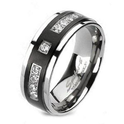 Picture of Titanium Solid Men's Ring Black with Multi CZ