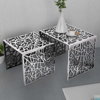 Picture of Two Piece Side Tables Square Aluminum Silver