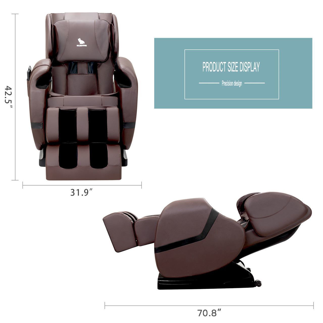 Picture of Zero Gravity Shiatsu Full Body Massage Chair Recliner with Heat and Foot Rest - Brown