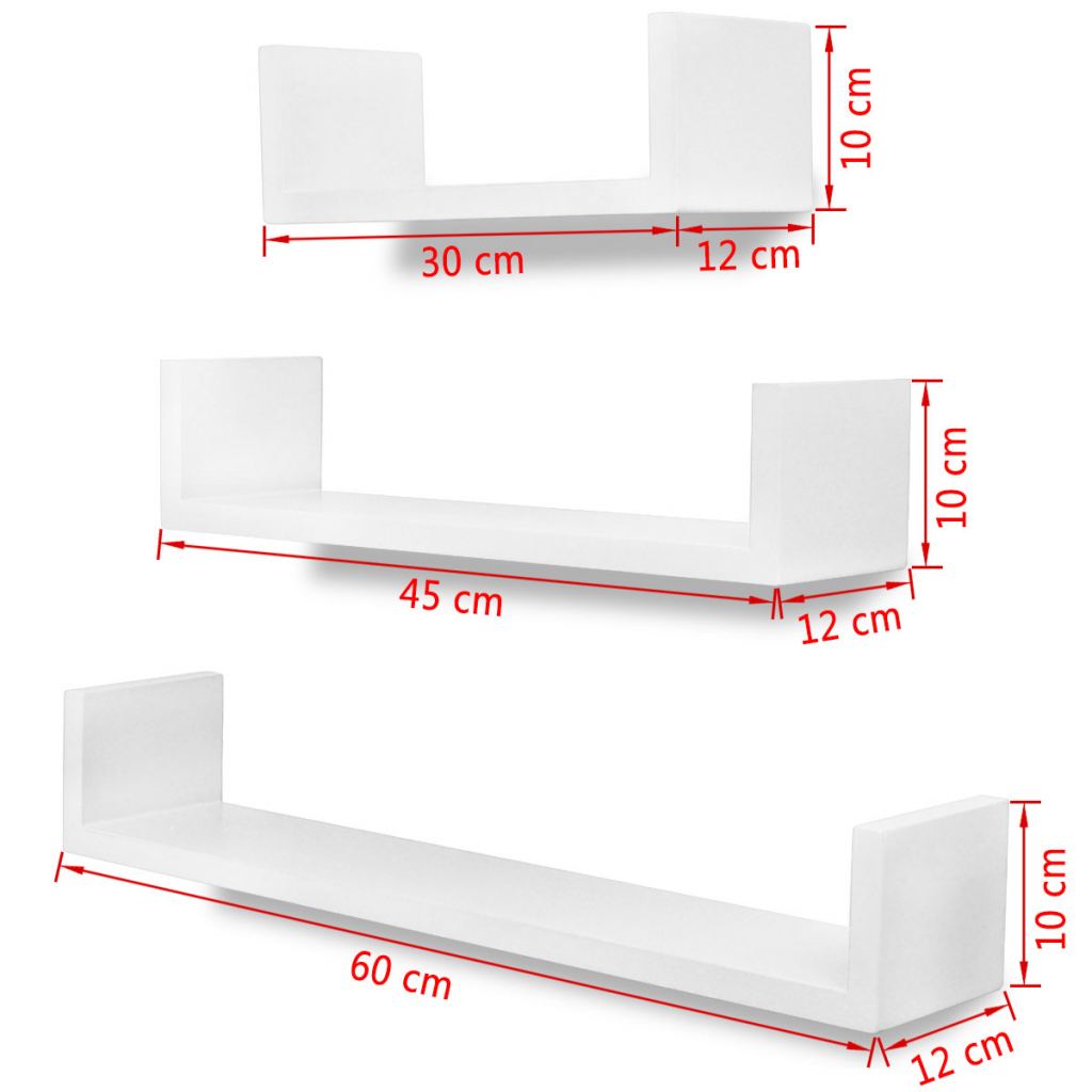 Picture of Wall Shelves Book/DVD Storage - 3 pcs White
