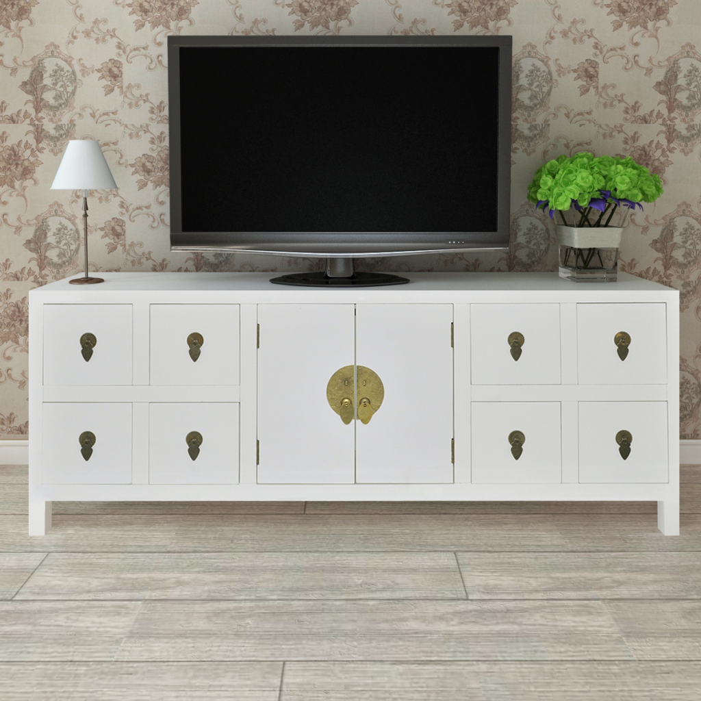 Picture of Wooden Asian Sideboard TV Cabinet 8 Drawers and 2 Doors